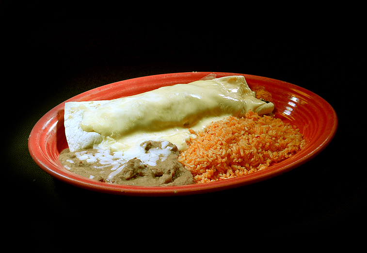 #7 Beef Burrito with Rice or beans